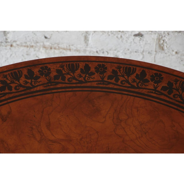 Brown Baker Furniture Stately Homes Collection Burl Ash Regency Center Table For Sale - Image 8 of 12