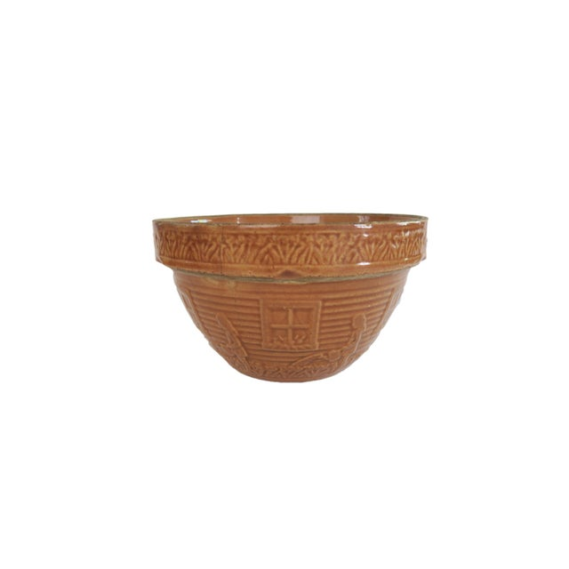 1930s Vintage Little Gardening Girl Brown Glazed Stoneware Pottery Mixing Bowl For Sale - Image 5 of 5