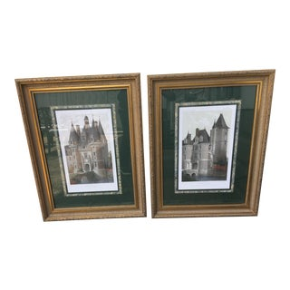 Mastercraft Interiors Loire Vallee Chateaux Lithograph Reproductions - a Pair For Sale