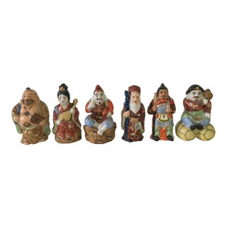 """Japanese Porcelain """" Lucky Gods"""" Figurines in Hand Painted Bright Colors - Set of 6"""