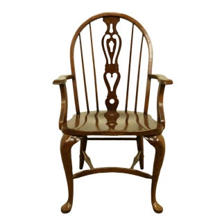 Late 20th Century Pennsylvania House Solid Oak Rustic Traditional Spindle-Back Dining Arm Chair For Sale