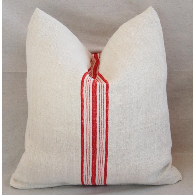 Red Stripe French Grain Sack Pillows - Pair - Image 4 of 11