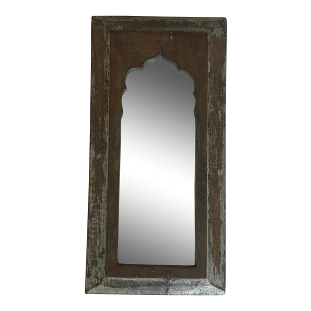 Vintage Indian Archway Painted Teak Mirror For Sale