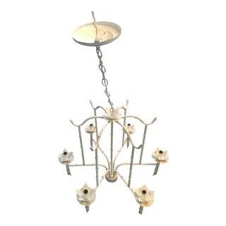 Vintage White Faux Bamboo Chandelier