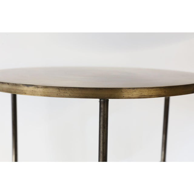 Modern Custom Steel and Brass Side Table For Sale - Image 3 of 9