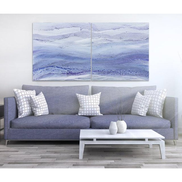 Abstract acrylic painting; Gallery-wrapped canvas sides painted silver. Ready to hang. Framing optional. Signed and dated...