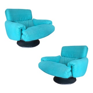 Blue Modernist Swivel Lounge Chair by Arconas, 2 Available - a Pair For Sale