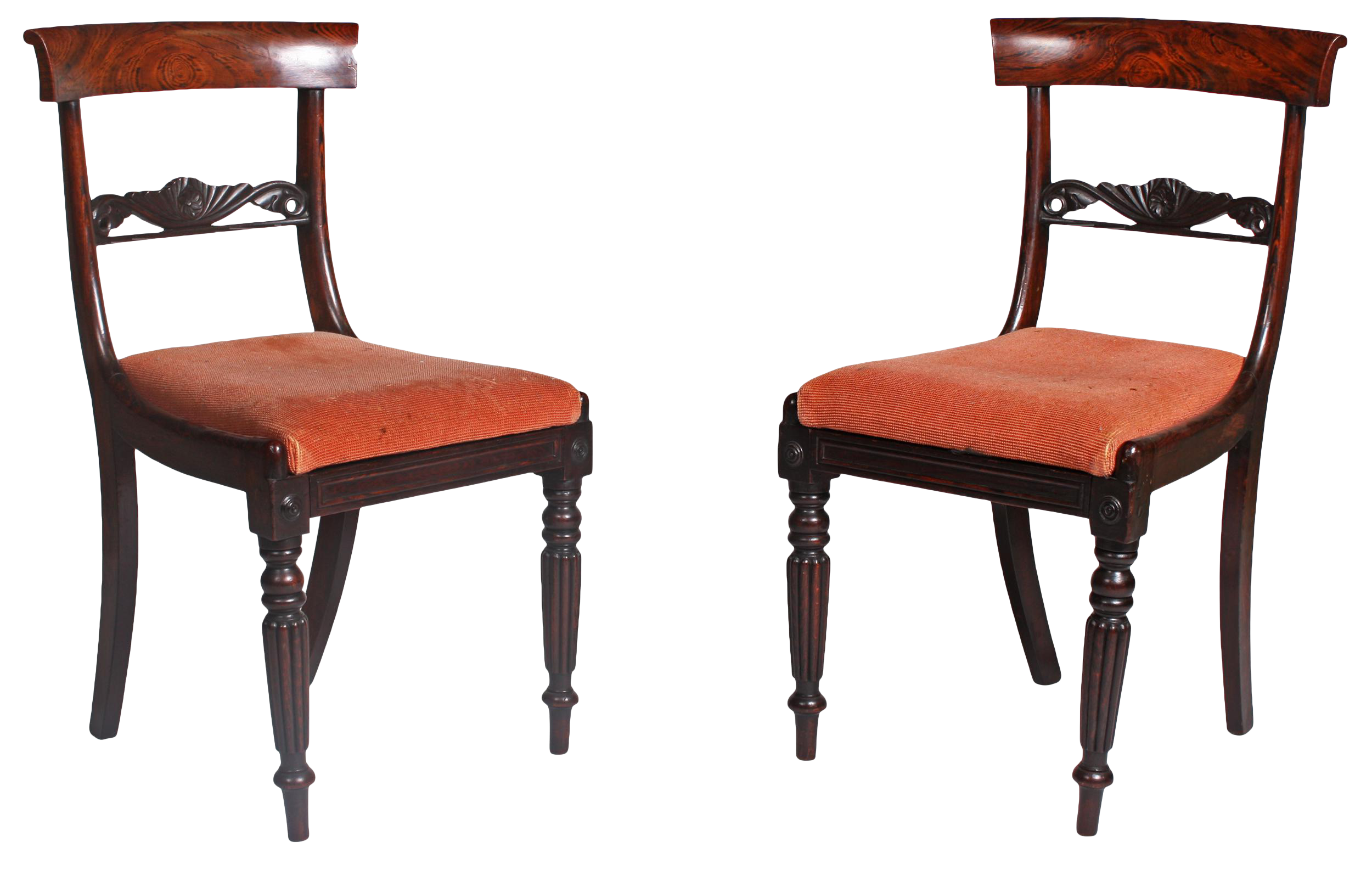 19th Century Faux Bois Regency Chairs   A Pair