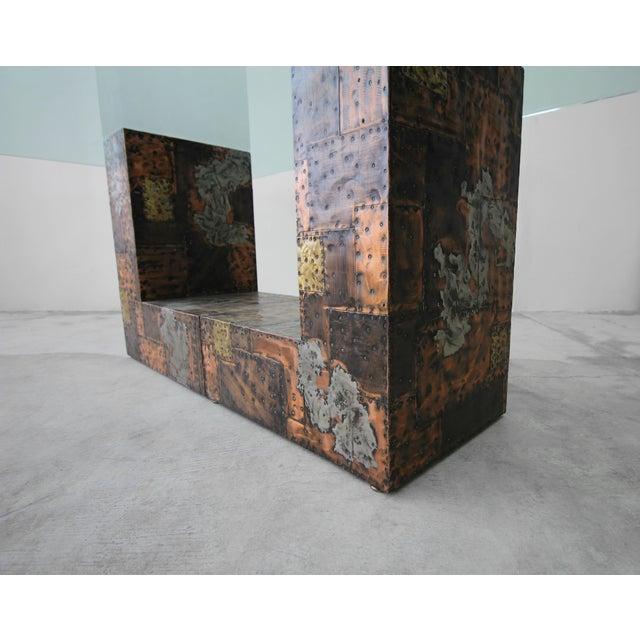 Brutalist Metal Patchwork Pedestal Dining Table by Paul Evans For Sale In Las Vegas - Image 6 of 8