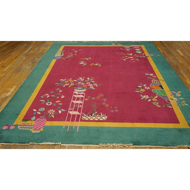 """Chinese Art Deco Pink Rug - 8'9""""x11'4"""" For Sale - Image 4 of 8"""