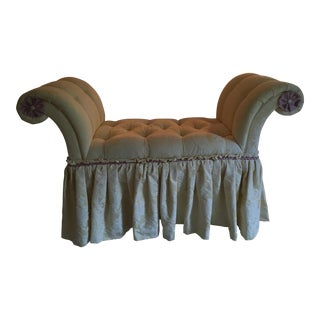 Pink Tufted Accent Yellow Bench