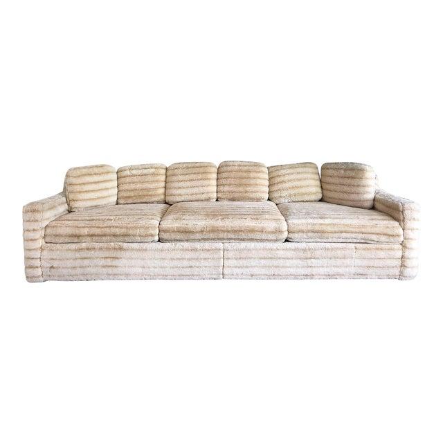 1960s Vintage Howard Parlor Faux Fur Sofa For Sale