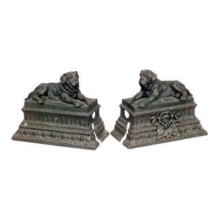 Victorian Wrought Iron Mastiff Andirons - a Pair For Sale