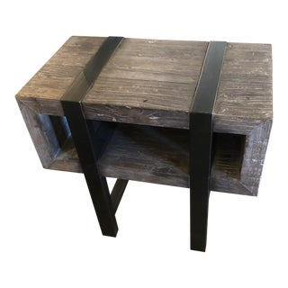 Classic Home Rustic Wood & Black Iron Side Table With Open Cubby Storage For Sale