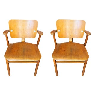 Art Deco Beech Wood Chairs, Pair
