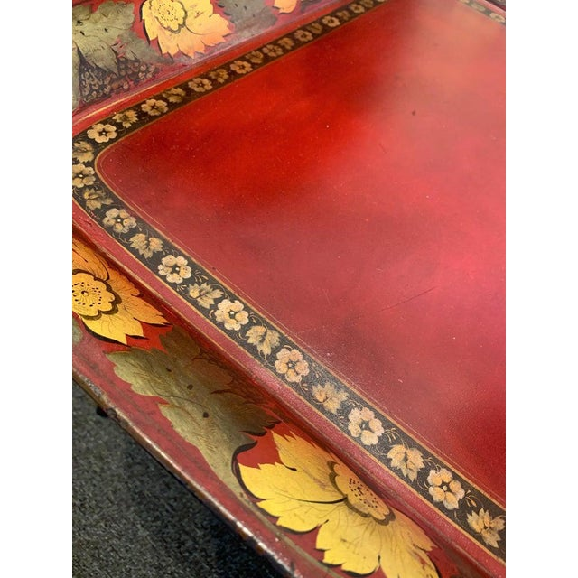 Regency Tole Tray Table in Red, Faux Bamboo Ebonized Base For Sale - Image 4 of 12