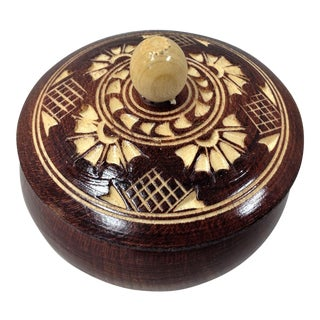 Vintage Mid-Century Hand Crafted Trinket Box For Sale