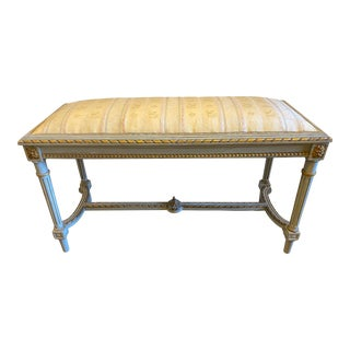 Italian Parcel Gilt Painted Upholstered Bench - 19th C For Sale