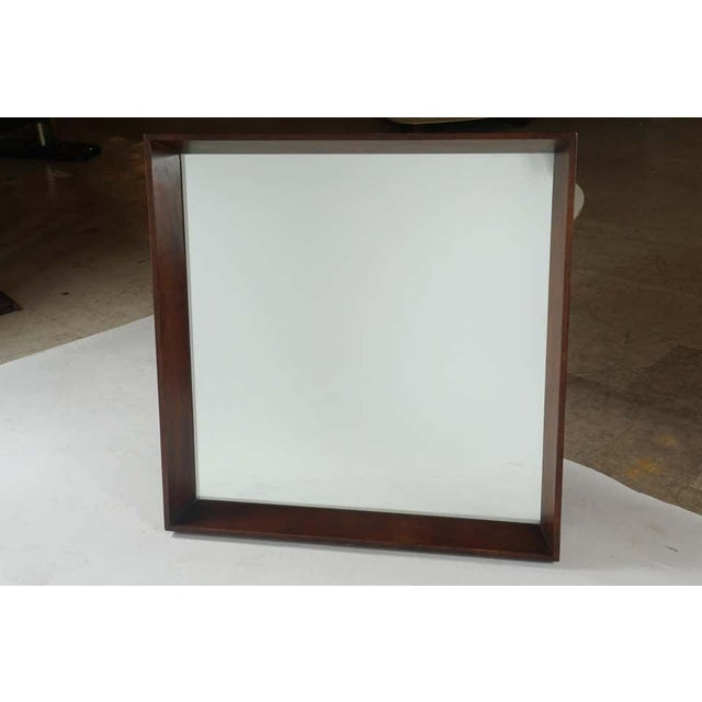 Gilbert Rohde Gilbert Rohde for Herman Miller Square Heavy Walnut Frame 1940s Wall Mirror For Sale - Image 4 of 10