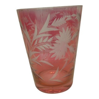 Vintage Cameo Pink Flower Vase For Sale