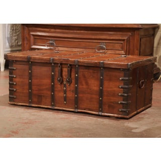 19th Century English Chestnut and Wrought Iron Strapping Coffee Table Trunk Preview