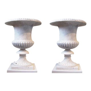 Antique White Italian Marble Campana Urns - A Pair For Sale
