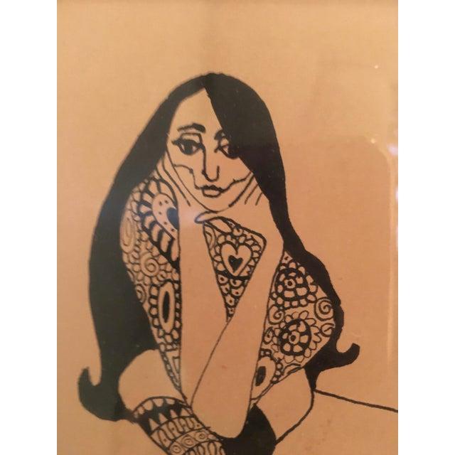 Vintage Pen & Ink Drawing For Sale - Image 4 of 5