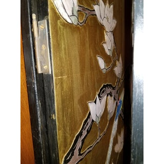 Vintage Asian Four Panel Gold Screen Room Divider With Birds Preview