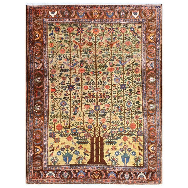 Antique Tabriz Persian Tree of Life Rug - 5′ × 6′10″ For Sale - Image 10 of 10