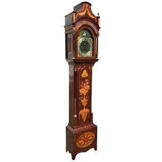 Fine Inlaid George III Longcase Clock With Automaton Movement, Circa 1780 For Sale
