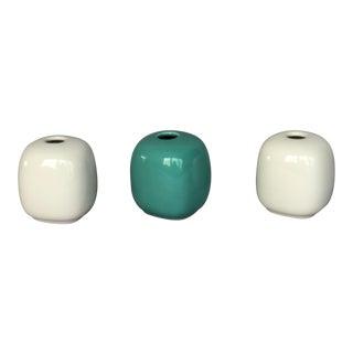 Vintage Andre Richard Green and White Ceramic Vases - Set of 3 For Sale