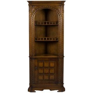 Carved Oak Corner Hutch Cabinet