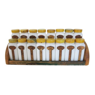 Vintage Griffith Laboratories 16-Piece Milk Glass Spice Jar Set Wall Hanging Spice Rack For Sale