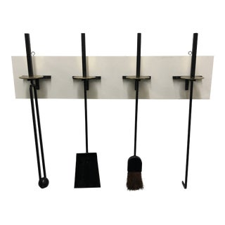 Mel Bogart for Stewart Winthrop Iron + Brass Wall-Hung Fire Tool Set C1955 - 4 Tools with Mounts For Sale