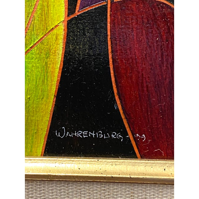 Beautiful Vintage Oil on Canvas Signed Abstract Cubism Gold Frame For Sale In New York - Image 6 of 8