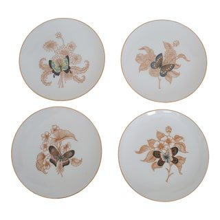 Vintage 1970s Fitz and Floyd Butterflies Salad Plates - Set of 4 For Sale