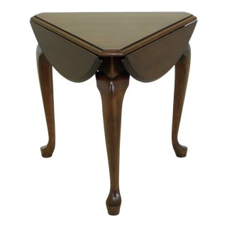 Cherry Tri Fold Triangular Queen Anne Occasional Table For Sale