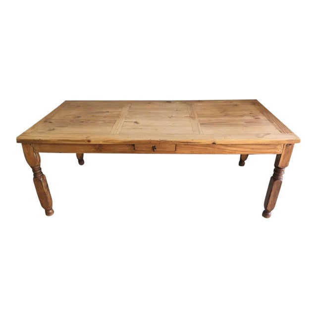 Mexican Carved Wood Single Drawer Dining Table - Image 1 of 6