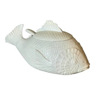 Italian White Ceramic Fish Shaped Tureen With Ladle For Sale