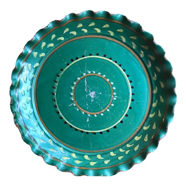Vintage French Provincial DeMarnaz Green Pottery Platter With Black and Ochre Yellow Decorative Design For Sale