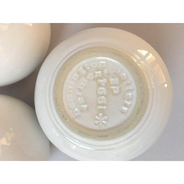 Bennington Potters Modern White Pottery Orb Spark Vases - Set of 3 For Sale - Image 5 of 9