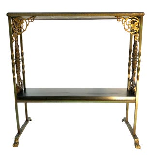 Antique Neoclassical Iron, Brass & Slate Console Stand For Sale