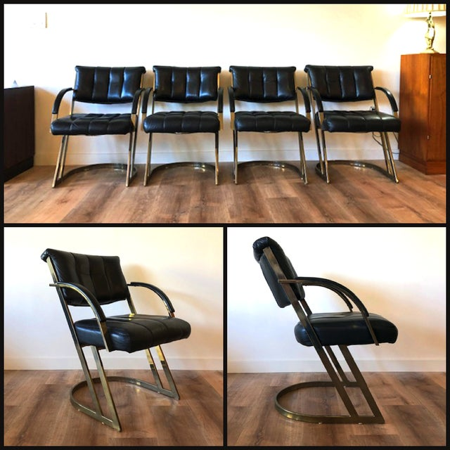 Leather and polished steel accent chairs / dining chairs. By Cal-Style, circa 1970.