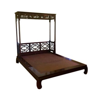 Queen Size Asian Chippendale Platform Bed For Sale