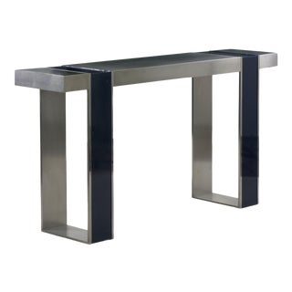 Vintage Minimalist Modern Matte and Blue Enamel Steel Console Table For Sale