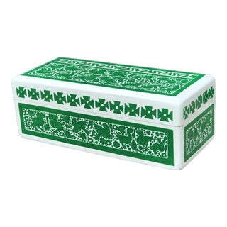 20th Century Folk Art Painted Green & White Wooden Box For Sale