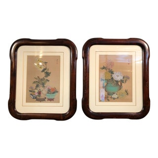 6bae0f4a4 Vintage Mid-Century Chinese Framed Watercolor Paintings - A Pair For Sale