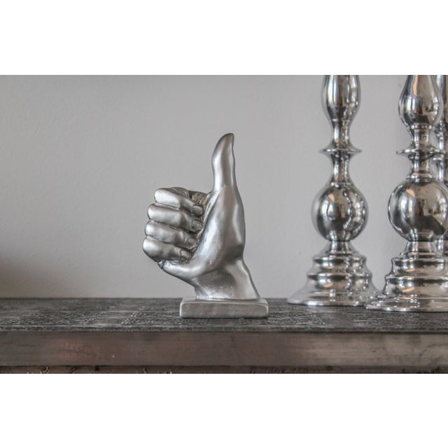 Silver Thumbs Up Hand Symbol Sculpture - Image 4 of 7