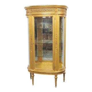 Italian Gilt Carved Bow Front Display Cabinet/Curio For Sale