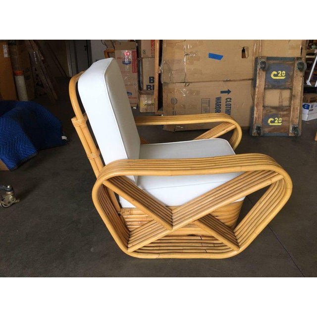 Restored Paul Frankl Style Six-Strand Square Pretzel Rattan Lounge Chair For Sale - Image 4 of 7